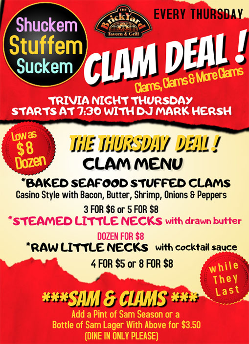 Brickyard Tavern Clam Deal Thursdays